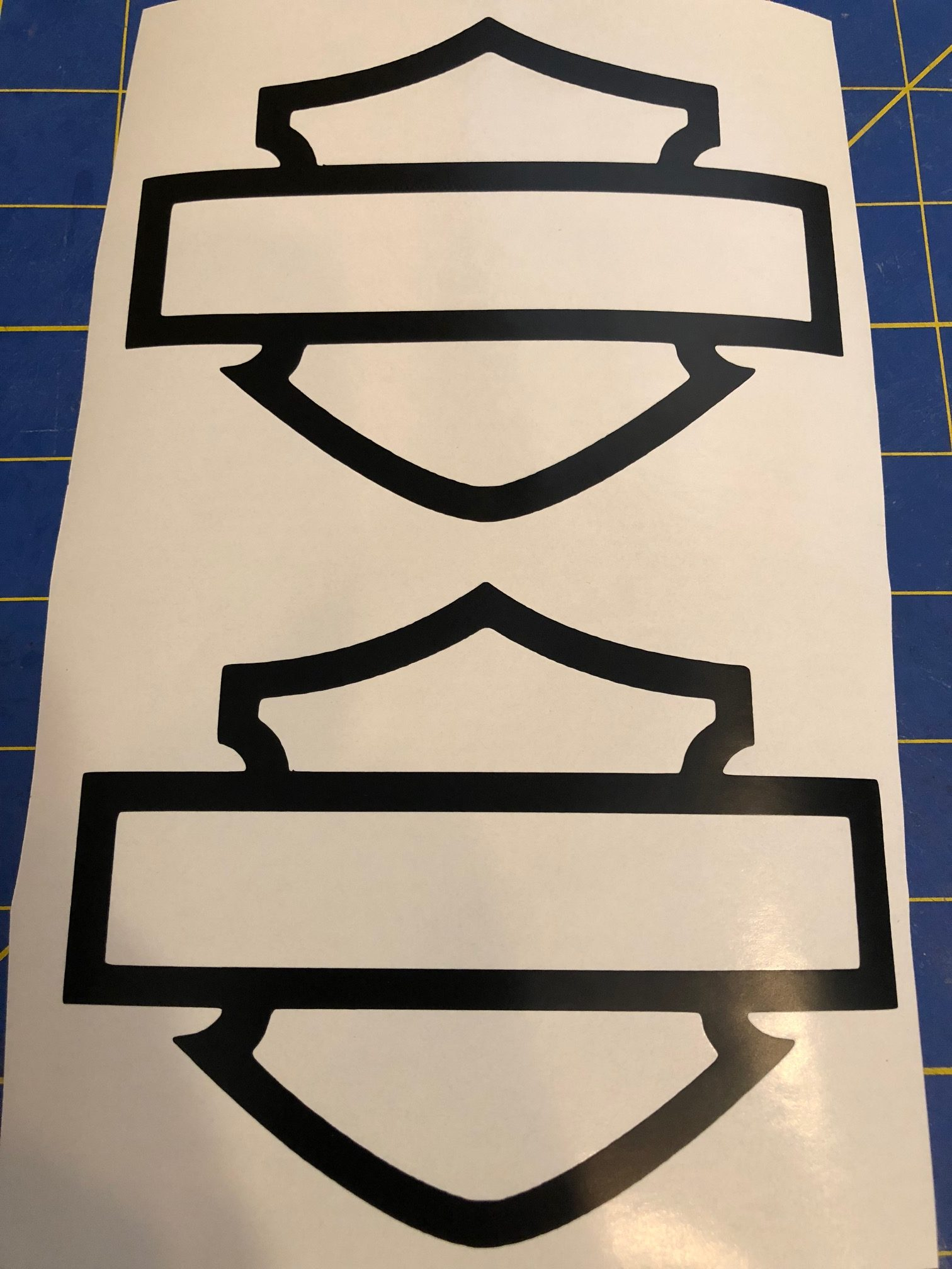 Harley shield outline tank decal set